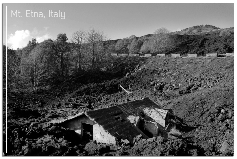 Mt Etna devastated house