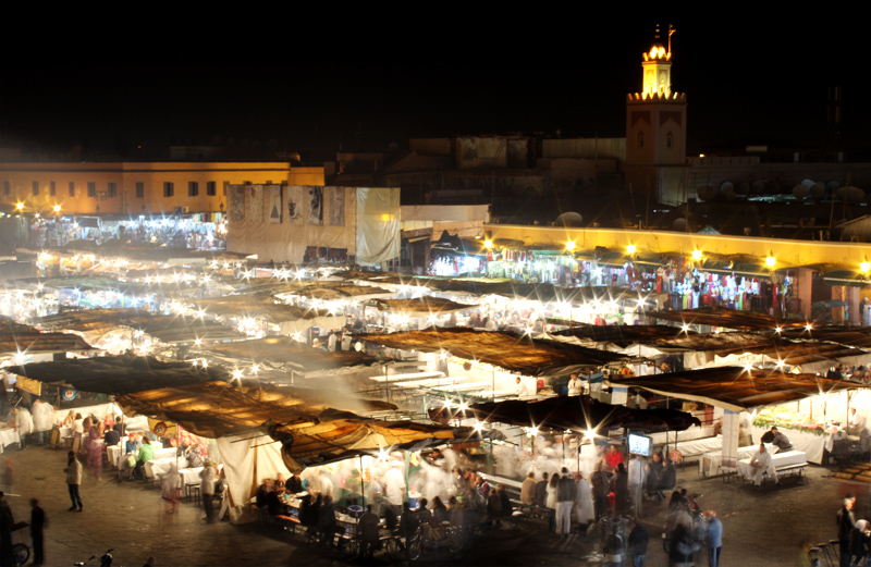 Night markets from above, Marrakech
