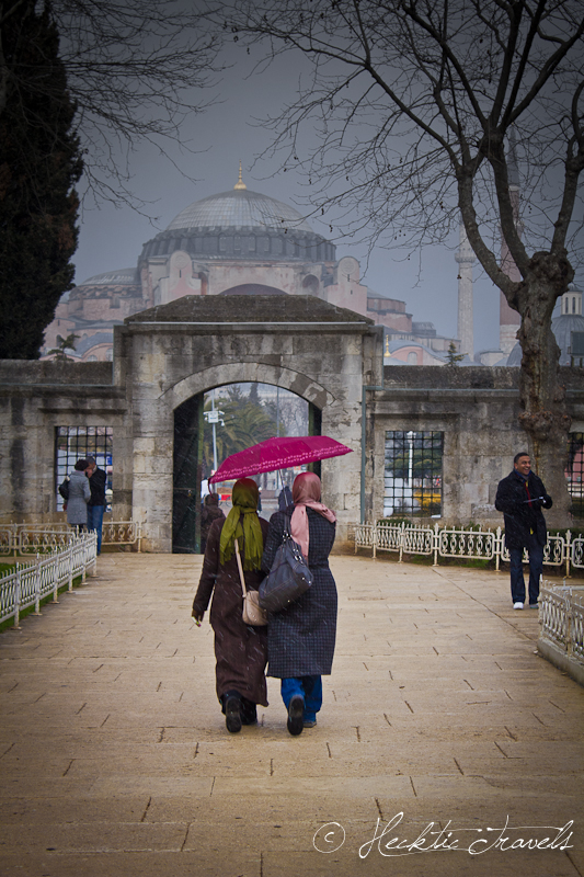 The Pink Umbrella at the Blue Mosque