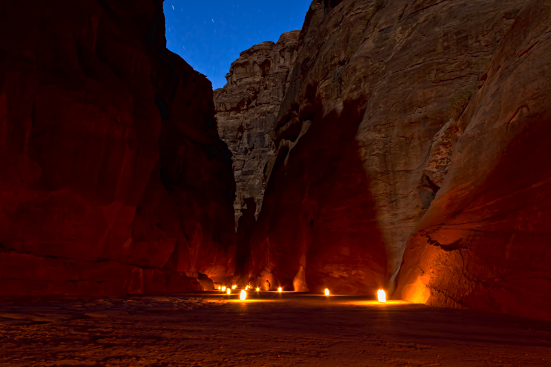 Jordan, Petra by Night - Candle Lit Road