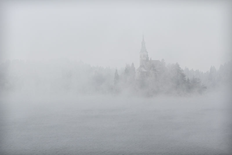 Lake Bled Cathedral in fog