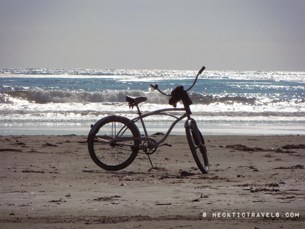 Vancouver Island - A lone bike on Chesterman Beach