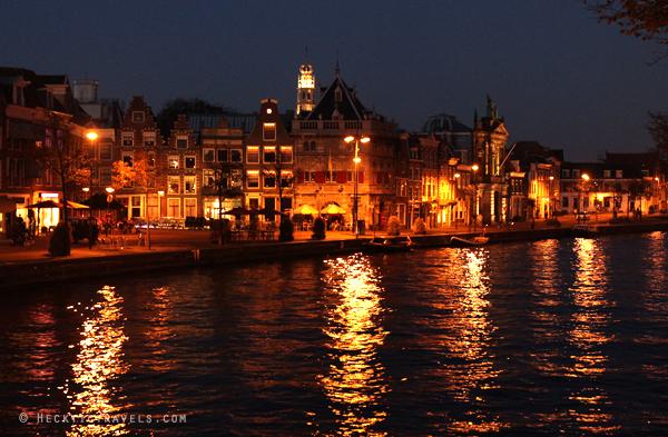 Haarlem riverfront at night