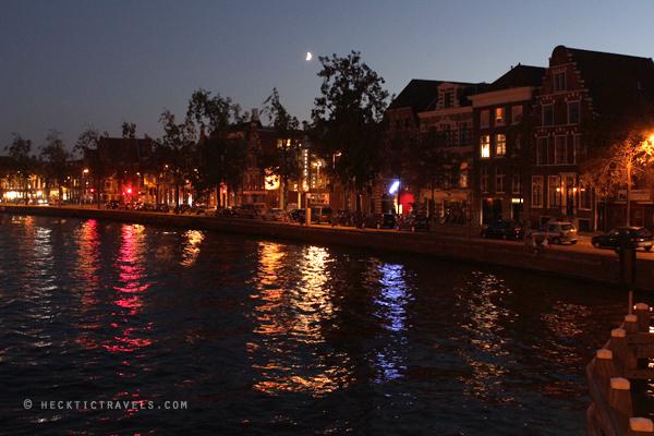 Haarlem River Spaarne at night