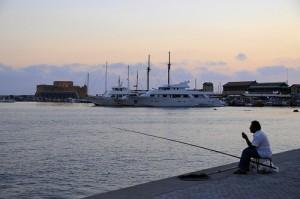 Paphos harbour fishing