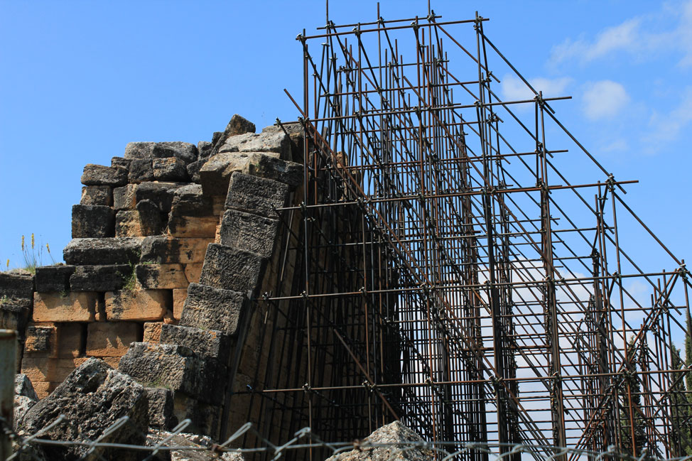 Falling building Hierapolis Turkey