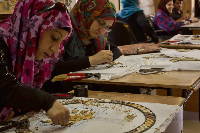 Jordan making mosaics