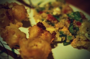 Deep Fried Cheese Curds and Quinoa Salad