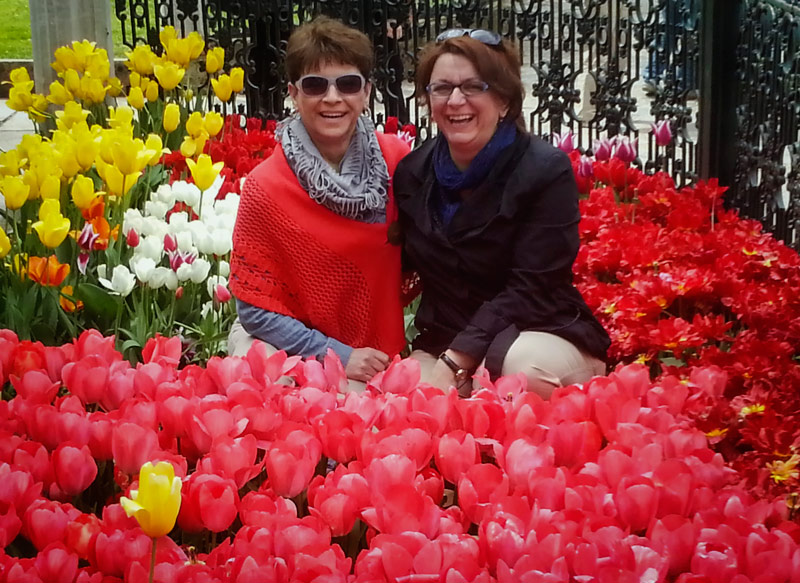 Kay and June in the Tulips