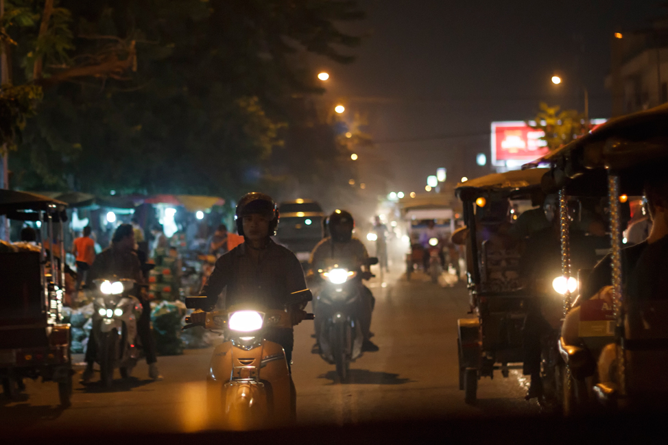 Motos at Night - Phnom Penh, Cambodia