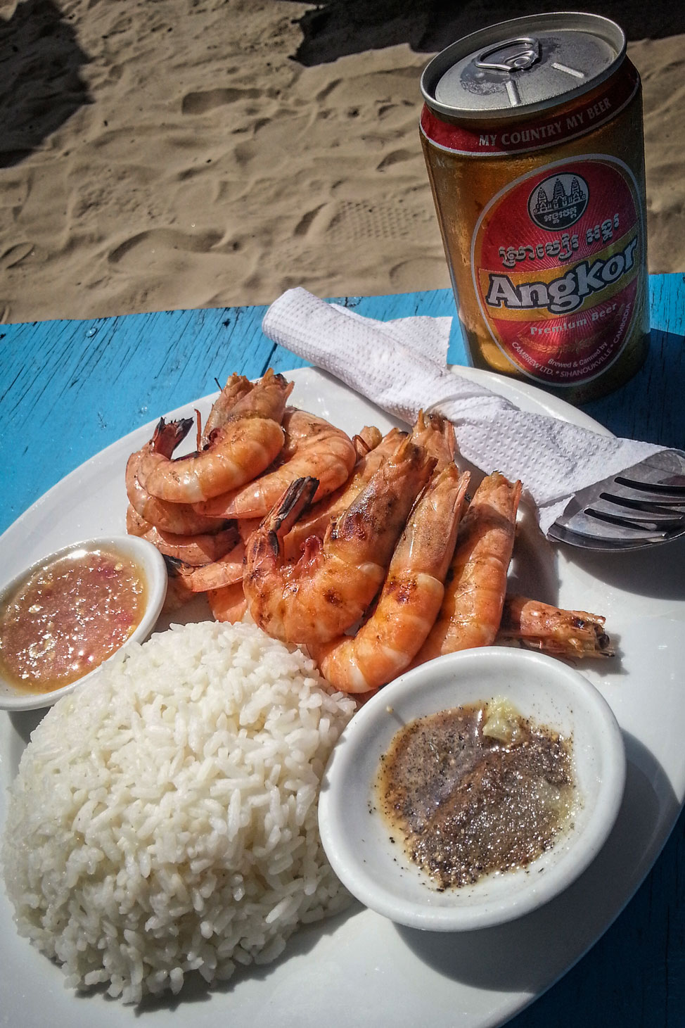 Grilled Prawns and Rice