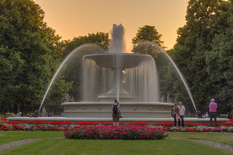 Warsaw Fountain Sunset