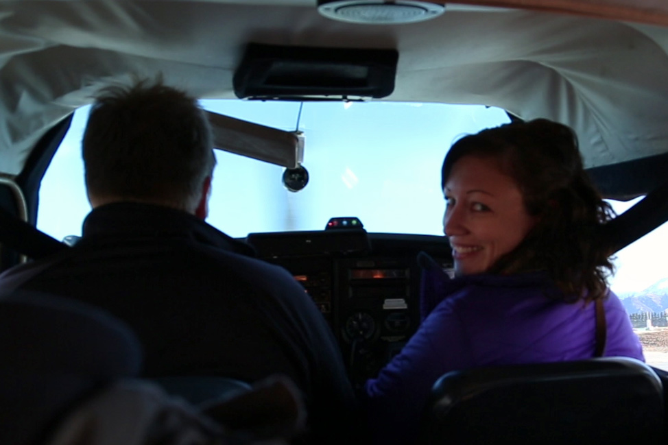 Dalene in the cockpit