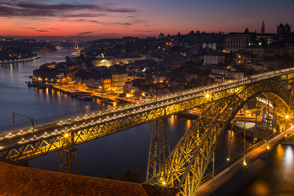 Porto Bridge Lit Up