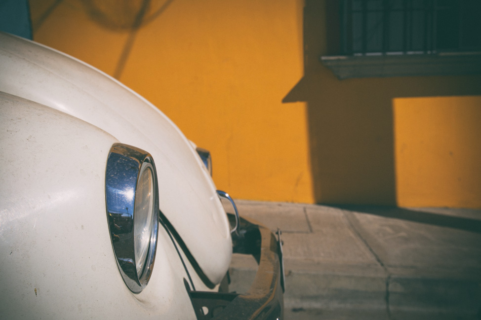 White VW Beetle Nose Oaxaca