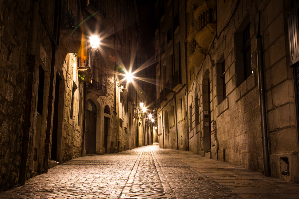 Empty Girona Old Town Night