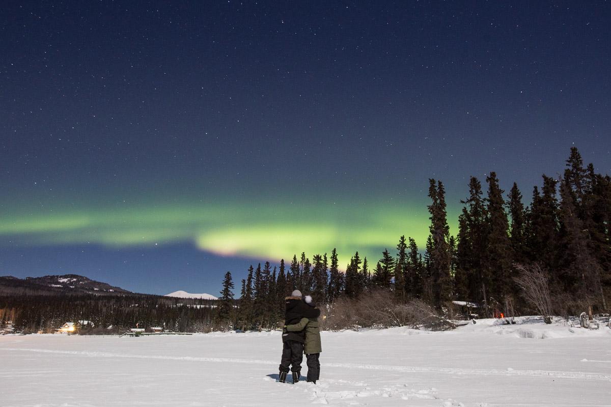 Northern Lights Yukon Canada Couple