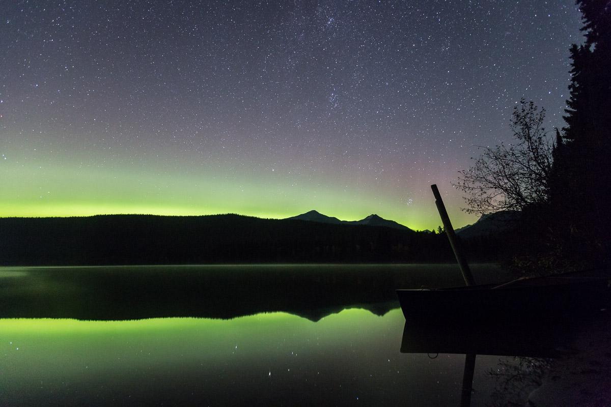 Northern Lights Bowron Lakes BC Canada