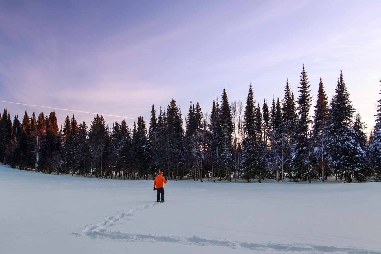 Snowshoeing at Sunset