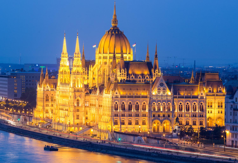 Budapest Hungary Parliament Building Night