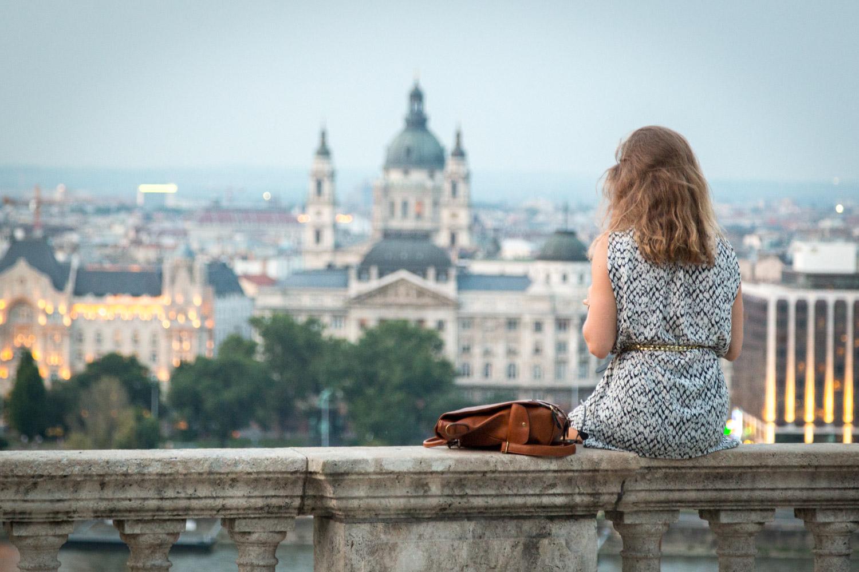 Budapest Hungary Sitting Girl
