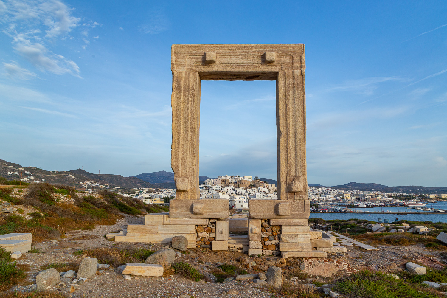The Temple of Apollo stands in front of Naxos