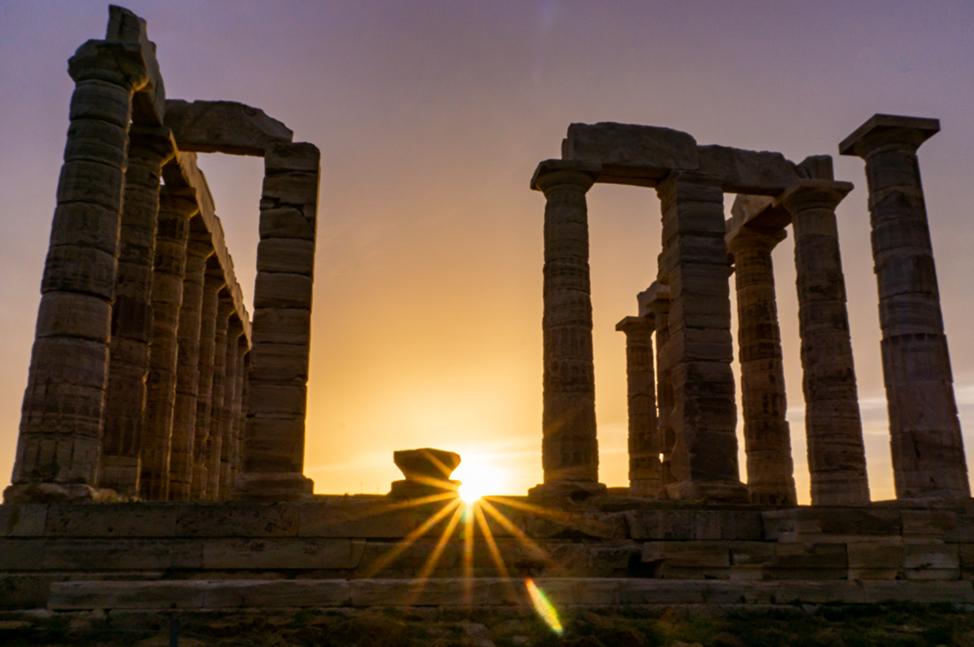 Temple of Poseidon Sun Rays