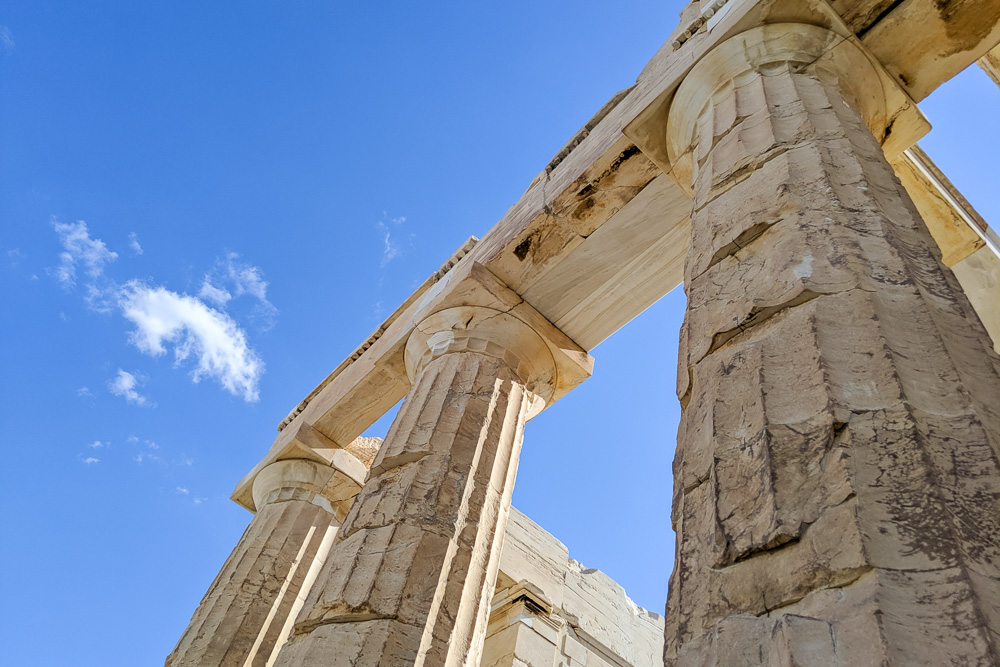 Columns from the Acropolis in Athens, Greece