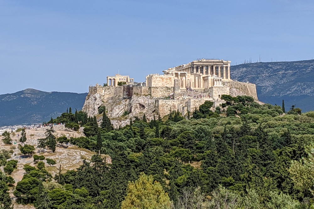 View of the Acropolis from Pnyx Hill in Athens