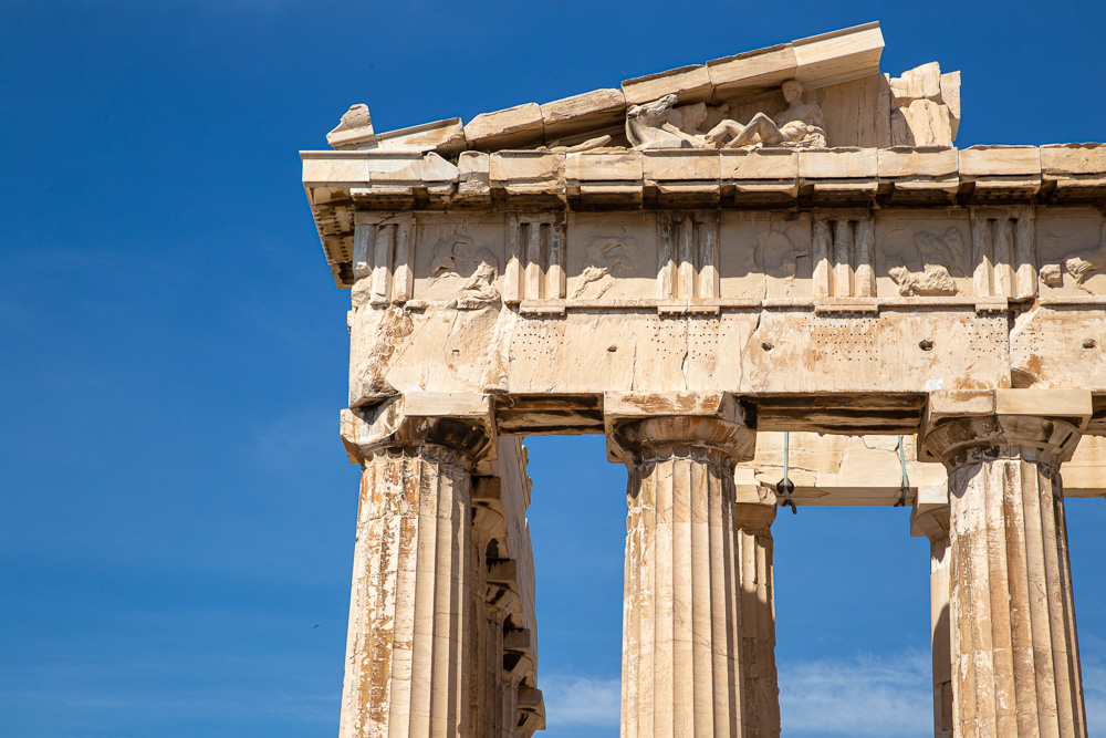 A close up of the Parthenon in Athens, Greece