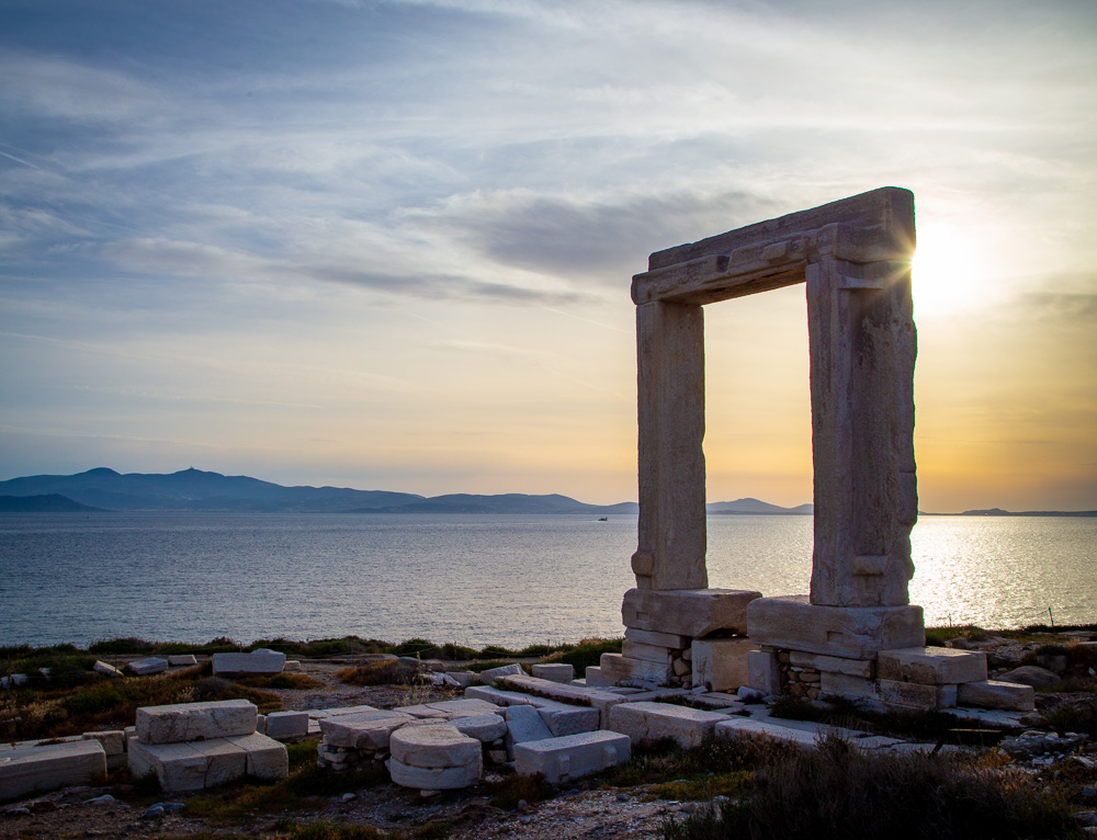 A view of Apollo's Temple from the Greek island of Naxos