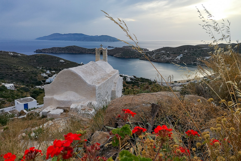 A church on top of the hill in Ios, Greece