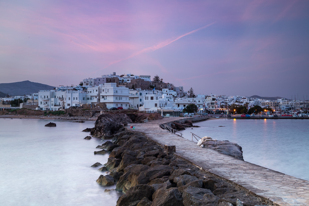 A pink and purple sky over Naxos during sunrise