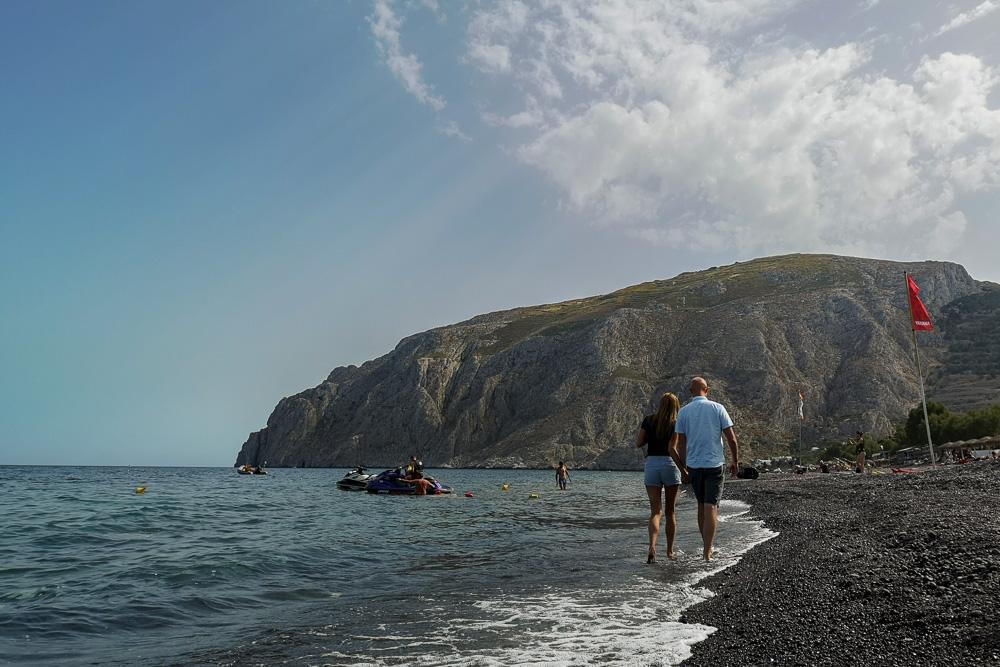 Black sand beach of Santorini