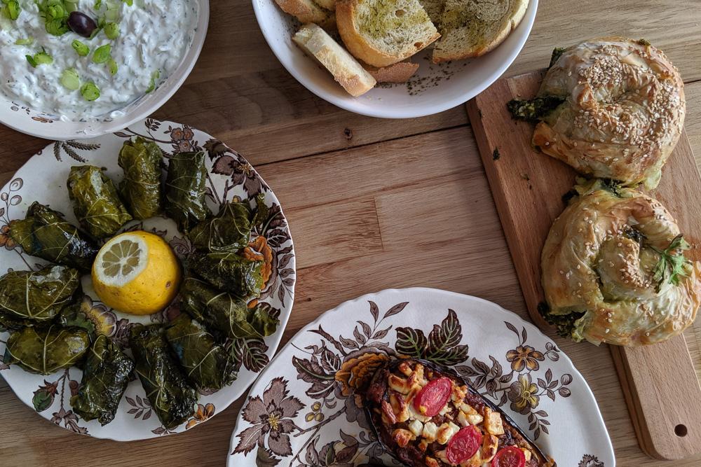 A spread of delicious Greek food