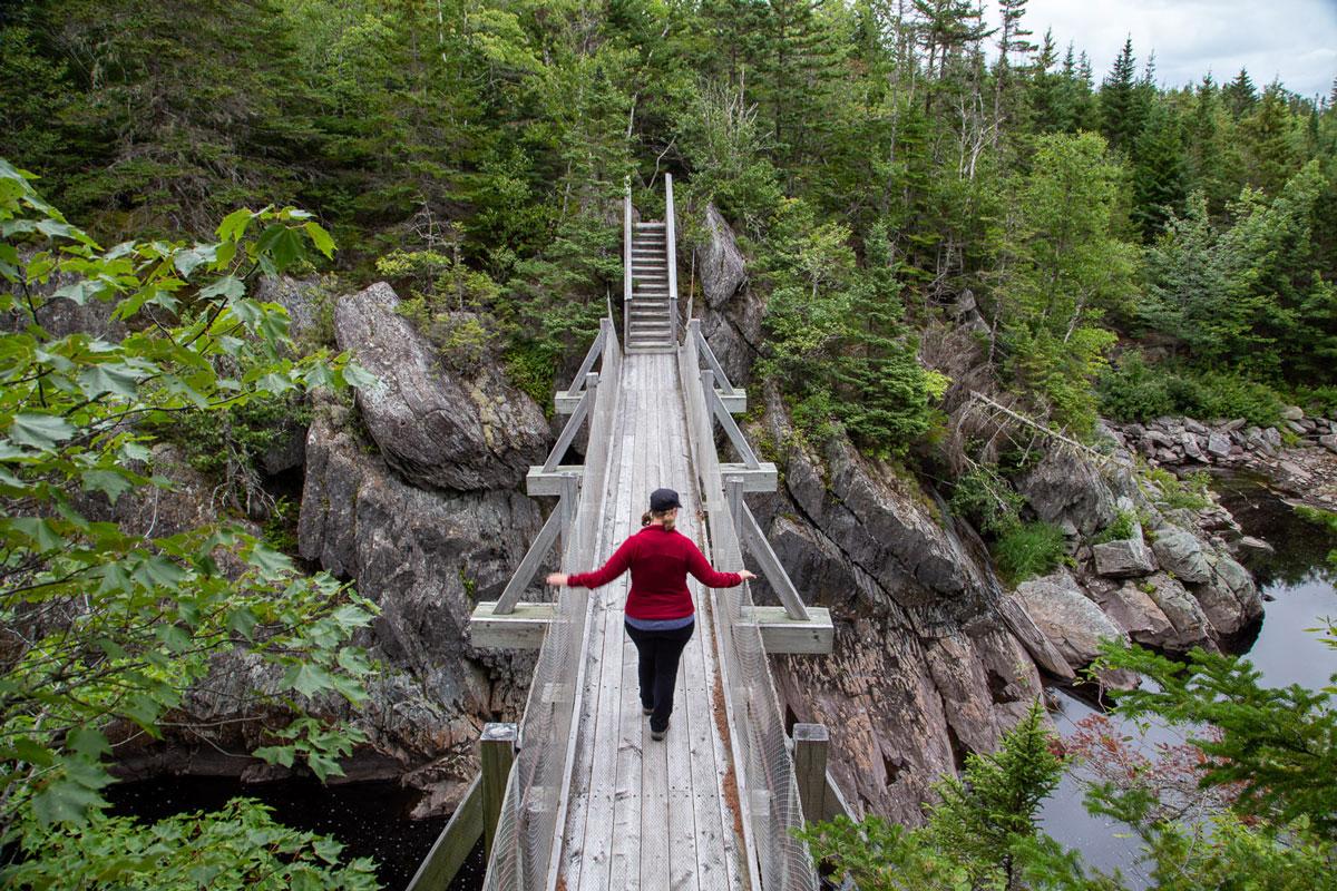 The suspension bridge at Liscombe Falls, eastern shore Nova Scotia