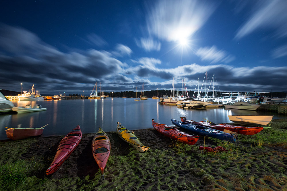 Kayak by moonlight in Baddeck, Nova Scotia